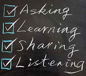 Asking, Learning, Sharing, Listening